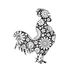 Stylized cartoon rooster or cock made of circle flowers. Hand drawing for adult anti stress coloring page, floral doodle. Zodiac for 2017 New Year of rooster.  Hand drawing imitation.