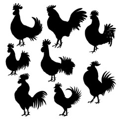 Set of roosters, cocks, Chinese zodiac illustration collection. Logo, emblem, symbol designs bundle. Red hand drawing silhouette isolated on white. 2017 Chinese Year of the Rooster zodiac emblems.