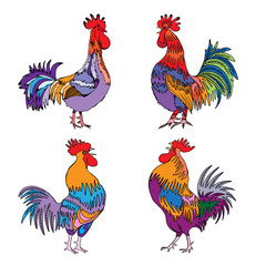 Set of roosters, cocks, Chinese zodiac illustration collection. Logo emblem, symbol designs bundle. Colourful hand drawing roosters isolated on white. 2017 Chinese Year of the Rooster zodiac emblems.