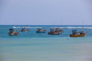 Fishing boats in the indian ocean, Sri Lanka