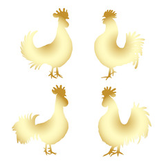 Set of Chinese 2017 new year of the Rooster symbols. Gold metallic roosters collection. Hand drawing bird with gradients. Chinese calendar Zodiac. Rooster golden silhouette bundle.