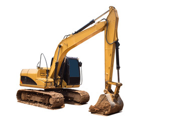 Yellow excavator in construction site isolated on white backgrou