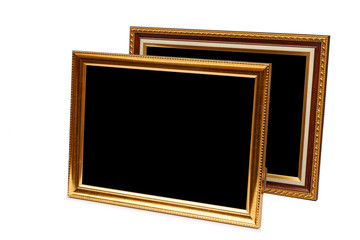 Gold vintage wooden photo frame isolated on white. Saved with cl