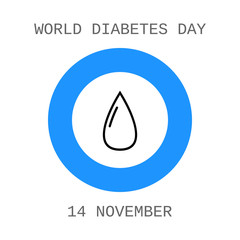 World diabetes day. Drop of blood. Flat icon.