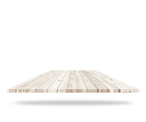 Empty top of wooden flooring isolated on white background. Saved