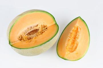 fresh cantaloupe melon on white background