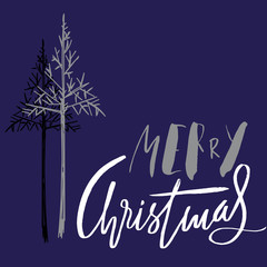 Christmas tree silhouette, design for greeting card. Vector hand drawn lettering for design. Silver Christmas lettering