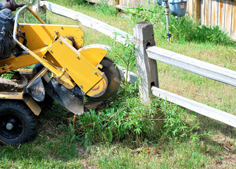 Machine used to cut stump trees from the ground outside.