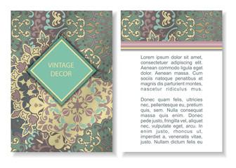 Business card or invitation. Vintage decorative elements.