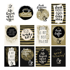 Big Coffee Set. Trendy elaborate hand lettered doodle greeting cards, postcards, package design elements, labels, inspirational quotes