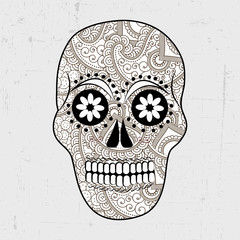 Illustration of floral skull for Dia De Los Muertos