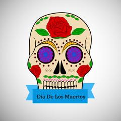 Illustration of floral skull for Dia De Los Muertos