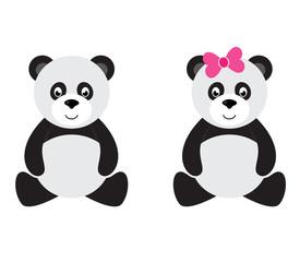 cartoon panda sitting set