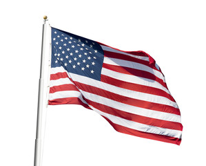 Photo of American flag waving on white background