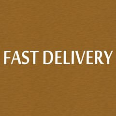 fast delivery white wording on Background  Brown wood