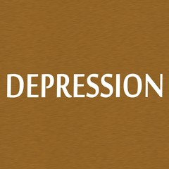 DEPRESSION white wording on Background  Brown wood