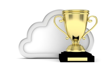 Isoalted golden cup with cloud on white background. Concept of cloud storage competition. Leader cloud drive. Best storage contest. 3D rendering.