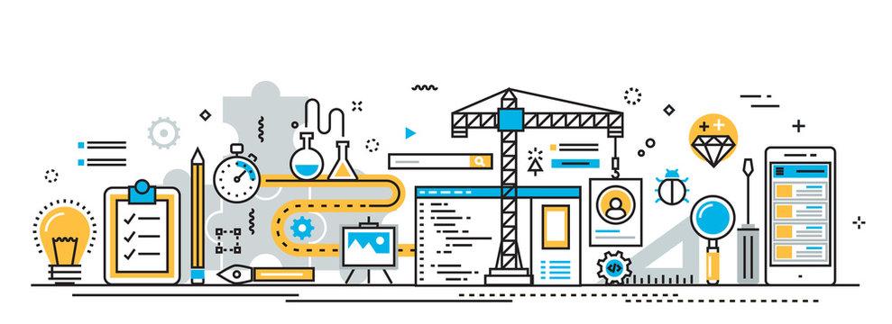 Flat line vector design concept of mobile application development process, app design, programming, coding, building and debugging for website banner and landing page header, infographics