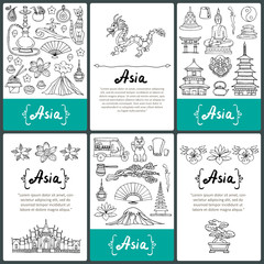 Vector set of prepared cards with hand drawn symbols of Asian countries
