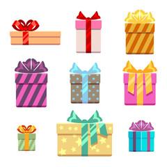 Set of gift box flat style