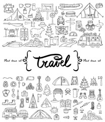 Vector set with hand drawn isolated doodles on the  theme of tourism