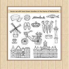Vector set with hand drawn isolated doodles on the  theme of Netherlands