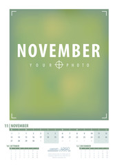 Calendar 2017 year grid design. Week starts monday. Holidays are not marked. Vector calendar for year 2017 Template. Set of 12 Months. November