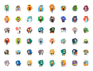 Different cartoon people characters big vector set