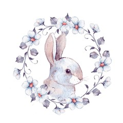 White rabbit and floral wreath 2. Watercolor painting