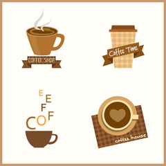 Coffee cafe shop design for logo, icon and symbol sign.Isolated illustration vector in beige and brown.