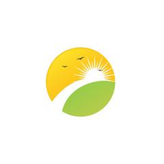farm landscape nature sun logo icon design vector template