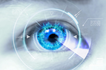 Close up eyes of technologies in the futuristic. : contact lens