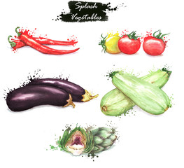 Hand-drawn watercolor food illustrations. Isolated drawings of the fresh vegetables - chili pepper, cherry tomatoes, artichoke, eggplant and zucchini. Splash style