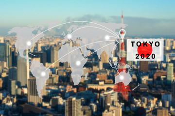 world map connection to Tokyo 2020 concept,tokyo japan