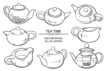 teapots set on white background
