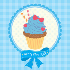 Cupcake fantasy design decoration with ribbon for happy birthday card.Illustration vector in blue tartan background colors.