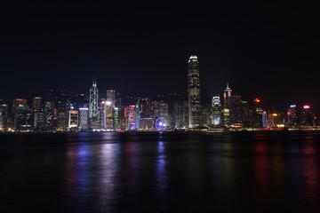 Hong Kong City Center Buildings at Night