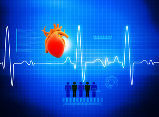 ECG Electrocardiography, medical and healthcare background. 3d render.