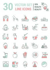 Set of linear icons on the topic of health, beauty, Spa therapy,
