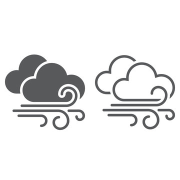 wind and clouds weather line icon, outline and solid vector sign, linear and full pictogram isolated on white, logo illustration