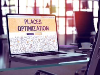 Laptop Screen with Places Optimization Concept. 3D Illustration.