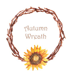 Hand-drawn watercolor illustration of the beautiful autumn wreath with sunflower. Isolated on the white background