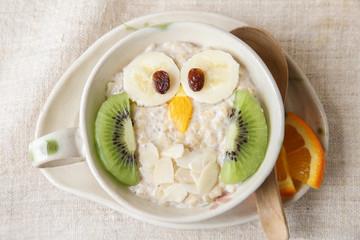 Owl porridge breakfast , food art for kids