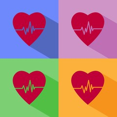 Heart cardiogram icon with shadow on colored backgrounds