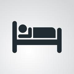 Icono plano hombre en cama en fondo degradado