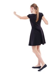 skinny woman funny fights waving his arms and legs. Blonde in a short black dress boxing