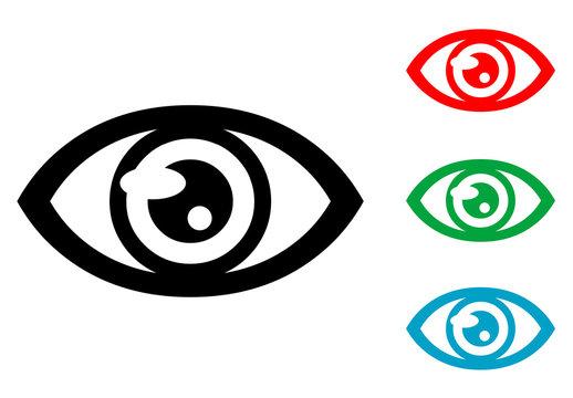Icono plano ojo varios colores