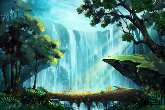 The Wood Bridge inside the Deep Forest near a Waterfall. Video Game's Digital CG Artwork, Concept Illustration, Realistic Cartoon Style Background