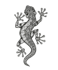 Ethnic ornamented salamander. Vintage graphic vector illustration