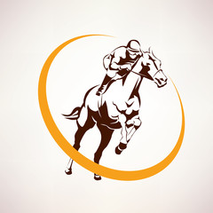horse race stylized symbol, jockey riding a horse elmblem